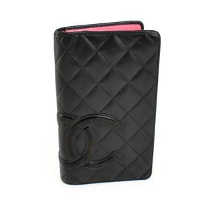 "CHANEL Cambon: Black Leather & ""CC"" Logo Wallet nr"